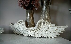 Pair Of White Angel Wings Vintage Ornament Wall Art Hanging Rustic Home Decor