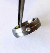 Artcarved Ti 18K Oro 0.05 Carati Diamante Unisex Fede Nuziale Tungsteno Anello