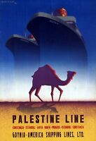 "Vintage Illustrated Travel Poster CANVAS PRINT Palastine Line Ship 24""X18"""
