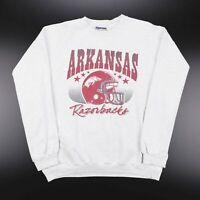 Vintage Grey ARKANSAS RAZORBACKS Big Logo Sports Sweatshirt Size Mens Large