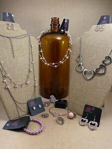 🔥 Paparazzi Jewelry Lot 12 Necklace Earrings Bracelet Ring NEW Pink Hearts Love