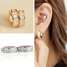 Women's Elegant Beautiful Rhinestone Crystal Huggie Hoop Studs Earrings Jewelry