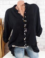Bluse Damen Italy Tunika Longbluse Fischerhemd Leinen Optik schwarz 42 44 46