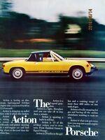"""1974 Porsche 914 The ACTION Porsche-Original Print Ad 8.5 x 11"""""""