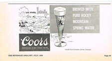 Scarce 1959 Coors Beer Dealer ad 8 x 4½ inch Colorado Tavern Trove