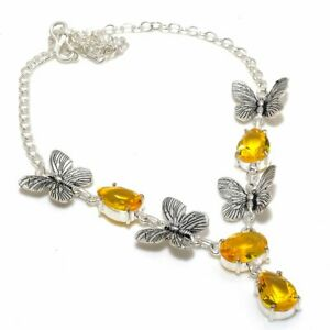 "Citrine Handmade Gemstone Ethnic Gift Jewelry Necklace 18"" RL-20317"