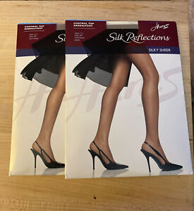 2- Hanes Silk Reflections Silky Sheer Sandalfoot Pantyhose 717 Soft Taupe Sz AB