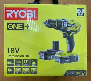 RYOBI ONE + 18V CORDLESS PERCUSSION DRILL WITH 2 BATTERIES & CHARGER & CASE