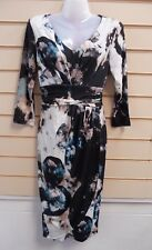 Dress Multi Print Size 8 Together Jersey Faux Wrap Front Detail