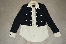 Moschino Cheap & Chic Black Button Up 2 Piece Blouse Suit Shirt Womens UK 10