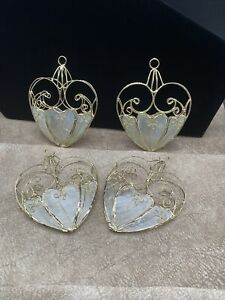 Lot Of 4 Vintage Natural Capiz Shell Puffy Heart Ornaments w Gold Colored Trim