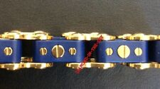 ICELINK LARGE GOLD BLUE STAINLESS STEEL UNISEX BICYCLE BRACELET MSRP $250 LE NEW