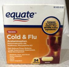 Equate Severe Cold & Flu 24ct Caplets Exp 11/2020 Damaged Box.