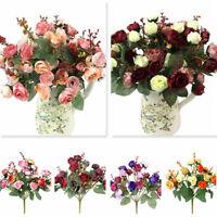 21Head Artificial Silk Fake Rose Flower Bouquet Wedding Bridal Home Decor Crafts