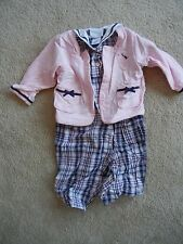 LITTLE ME SIGNATURE ONE PIECE OUTFIT BLUE PINK W/ JACKET GIRL SIZE 12 MONTHS