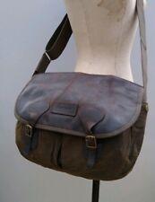 Vintage Barbour Tarras Wax Messenger Bag Shoulder Crossbody Green Leather Khaki