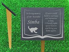natural slate memorial grave marker personalised cat kitten