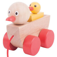 Bigjigs Toys Pull Along Wooden Duck and Duckling Walking Toy