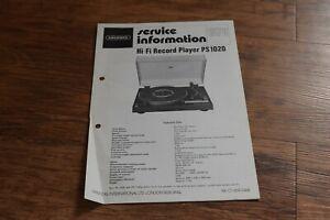 GRUNDIG PS 1020 Turntable Vintage Retro HiFi 4pg SERVICE INFORMATION Rare 1979