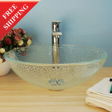 Bathroom Shattered Glass Style Vanity Sink Crystal Glass Vessel Sink bowl BVG011