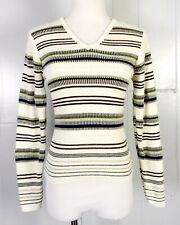 vtg 80s It's Our Time Fashion Avenue Knits V-Neck Sweater Top Ls striped S
