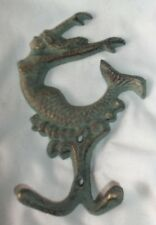 Cast Iron Jumping / Diving Mermaid Hook Gold & Blue Verdigris Finish 3 1/4 x 6""