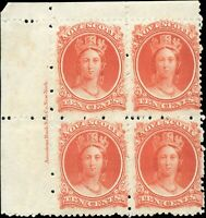 Mint Canada Nova Scotia 1860-1863 Block 10c F+ Scott #12 Queen Stamps Re-Gummed