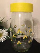 Vintage Carlton Glass 1982 Kitchen Canister Jar Yellow Floral & Lid 1.5 Liter