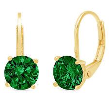 3.0 ct Round Cut Green Simulated Emerald Drop Dangle Earrings 14k Yellow Gold