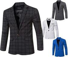 Mens Blazer Jacket Chequered Adults Fashion Smart Slim-Fit Coat XXS/XS/S/M/L/XL