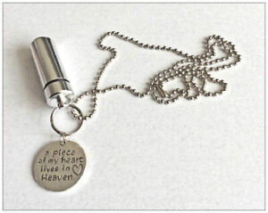 Cremation Jewellery Ashes Urn w A Piece of My Heart Charm Keepsake Memorial