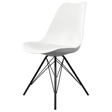 Fusion Living Eiffel Inspired White Plastic Dining Chair - Various Leg Bases