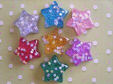 7 x Pretty Glitter Star Flatback Resin Embellishment Crafts, Hair bow, Cabochon