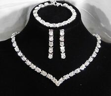 Wedding Silver 3PC Set Diamond Crystal Necklace, Earrings and Bracelet
