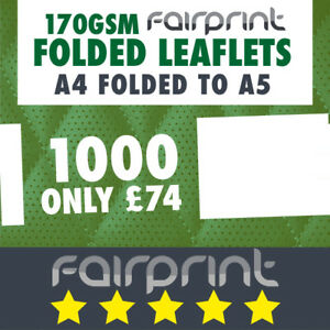 1000 Folded Leaflet and Menus / A4 to A5 / 170gsm Gloss