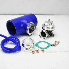 """SILVER TURBO CHARGED TYPE-RS BOV BLOW OFF VALVE +3"""" BLUE SILICONE COUPLER ADAPTE"""
