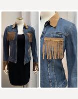DOLCE&GABBANA Vintage Denim & Suede Fringe Tailored Jacket XS