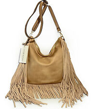 ANTIK KRAFT® Leather Fringe Crossbody Hobo with Adjustable Strap- Taupe