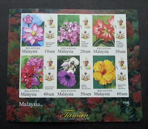 *FREE SHIP Malaysia Garden Flowers Definitive Kelantan Sultan 2018 MS MNH Imperf