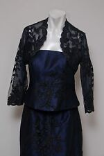 SKINZ STUNNING WOMEN'S NAVY EVENING LONG SKIRT & TOP WITH LACE SHRUG- SIZE 4