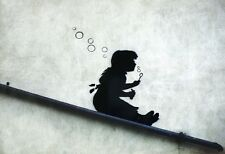 Banksy Poster Graffiti Girl Sliding Bubbles