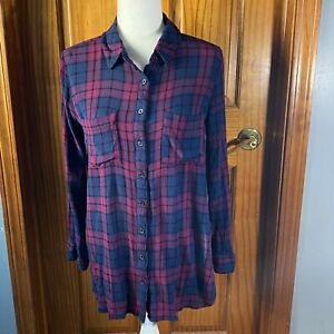 Halo womens oversized plaid button down shirt-blue/purple-size small-guc