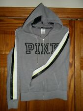 Victoria's Secret PINK Gray w/ Stripes Down Sleeves Front Zip Hoodie Size S VGC