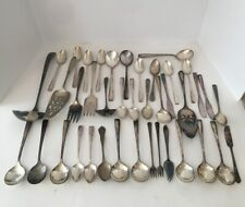 New ListingLot of 40 pieces of Vintage silverware - flatware tarnished Spoons Servers Etc.