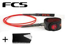 FCS 6' Fire Freedom Surfboard Leash Wax Comb
