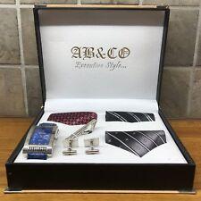 AB&CO EXECUTIVE STYLE Men's Luxury Gift Set Watch Cufflinks Tie Pin 3 Ties BNIB