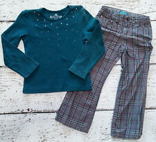 CHILDREN'S PLACE Girls Teal Grey Plaid Pants (Shirt free with pants) 4 5 VGUC