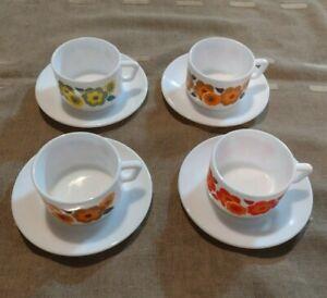 4 TASSES  a café lotus + soucoupe arcopal vintage