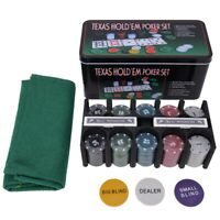 Plastic Poker Chip Texas Holdem Set with Table Cloth Playing Game Family Party