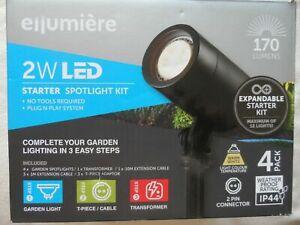 ELLUMIERE 2W LED Small Spotlight Starter Kit 4 Pack Black Outdoor Lights NEW